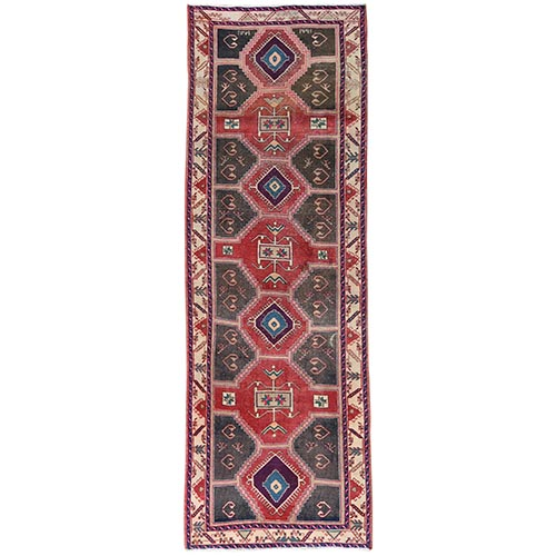 Semi Antique Red Northwest Persian Heriz With Geometric Design Cropped Thin Pile Clean Hand Knotted Pure Wool Oriental Runner Rug