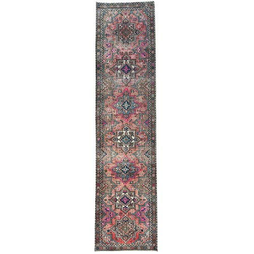 Deep Red Persian Tabriz Vintage And Worn Down Clean Hand Knotted Organic Wool Oriental Runner Rug