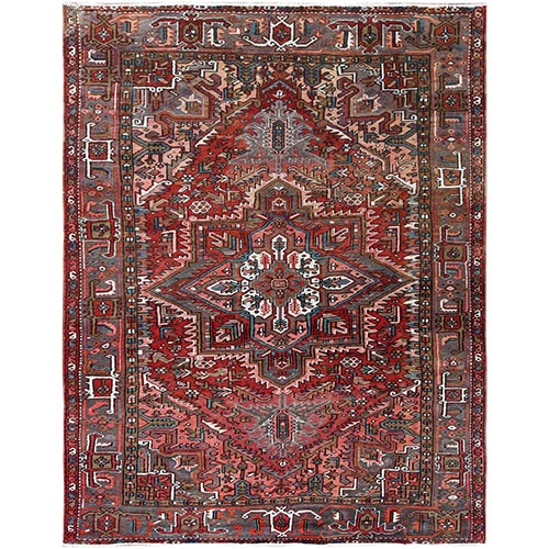 Vintage Persian Heriz With Medallion Design Coral And Chocolate Brown Clean Hand Knotted Pure Wool Oriental