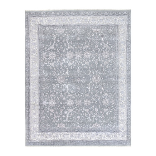 Gray Tone on Tone Wool and Plant Base Silk Transitional Persian Design 250 KPSI Hand Knotted Fine Oriental