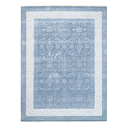 Tone on Tone Wool and Plant Base Silk Denim Blue Transitional Persian Design 250 KPSI Hand Knotted Fine Oriental