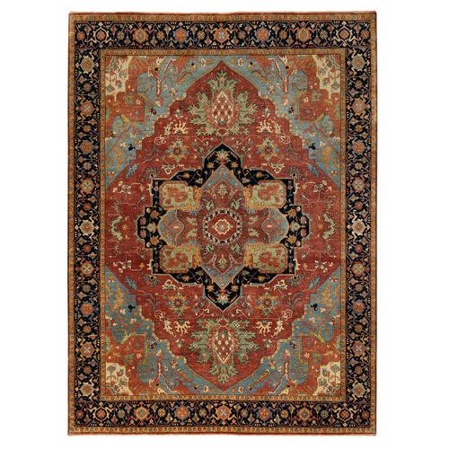 Hand Knotted Denser Weave Red Antiqued Heriz Re-Creation Pure Wool Oriental Rug
