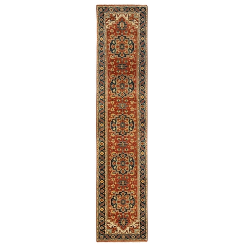 Organic Wool Red Antiqued Heriz Re-Creation Hand Knotted Oriental Runner Rug