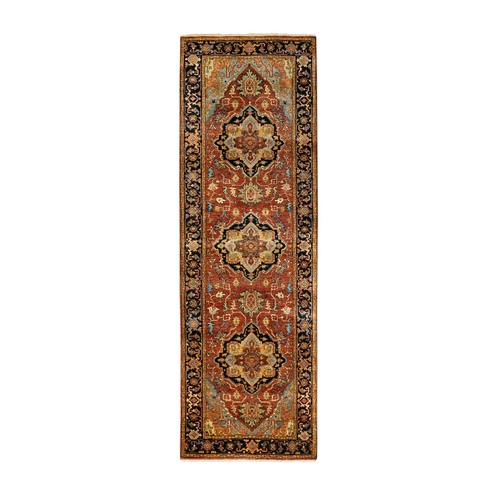 Red Antiqued Heriz Re-Creation Soft And Supple Wool Hand Knotted Oriental Rug