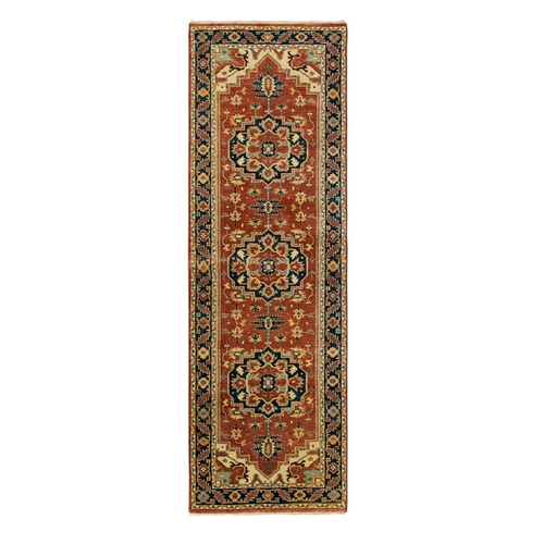 Hand Knotted Red Antiqued Heriz Re-Creation Velvety Wool Oriental Runner Rug