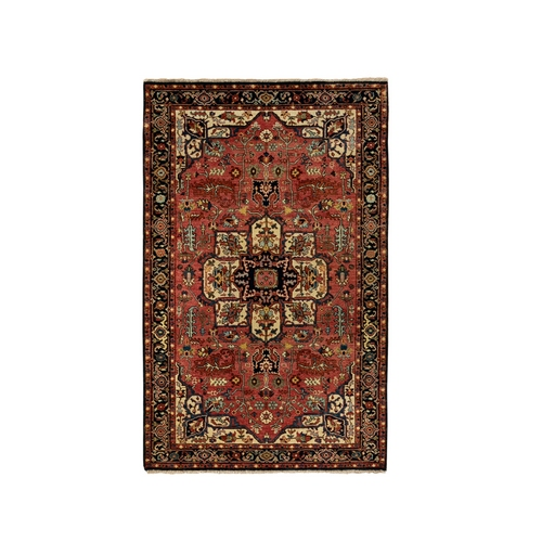 Red Antiqued Heriz Re-Creation Velvety Wool Hand Knotted Oriental Rug