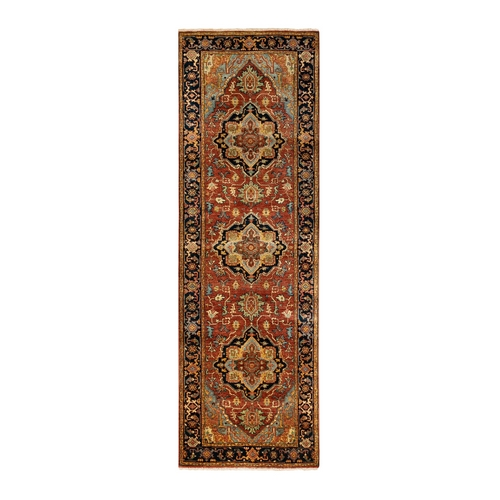 Red Antiqued Heriz Re-Creation Geometric Design Organic Wool Hand Knotted Oriental Runner Rug