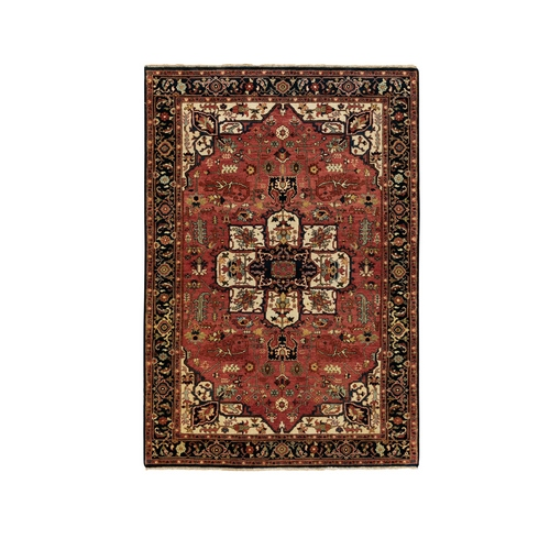 Red Antiqued Heriz Re-Creation Handspun New Zealand Wool Hand Knotted Oriental Rug