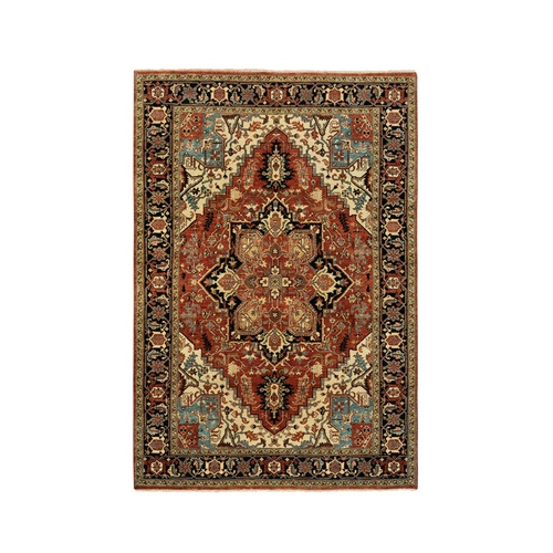 Red Antiqued Heriz Re-Creation Serapi Design Organic Wool Hand Knotted Oriental Rug