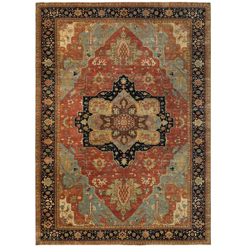 Oversize Red Antiqued Heriz Re-Creation Velvety Wool Hand Knotted Oriental Rug