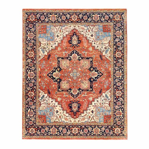 Red Antiqued Heriz Re-Creation Hand Knotted Hand Spun Wool Oriental Rug