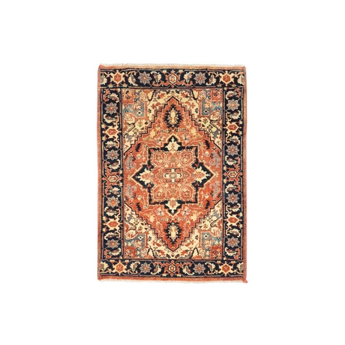 Red Antiqued Heriz Re-Creation Soft Natural Wool Hand Knotted Oriental Rug