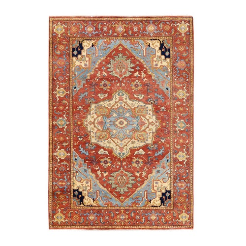 Antiqued Red Heriz Re-Creation Organic Wool Hand Knotted Oriental Rug