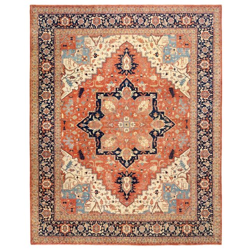Oversize Red Antiqued Heriz Re-Creation Soft And Supple Wool Hand Knotted Oriental Rug