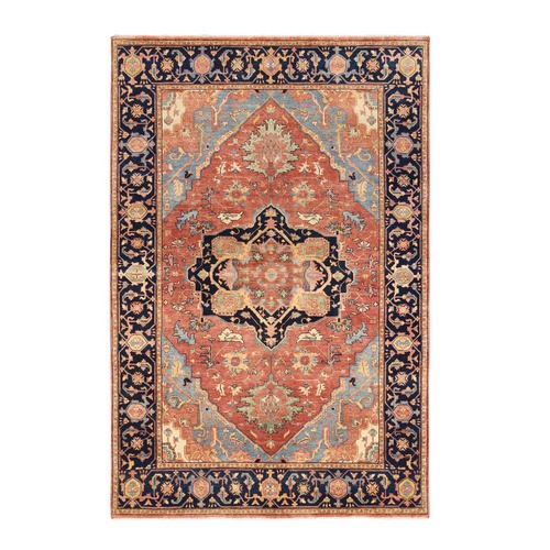 Hand Knotted Red Antiqued Heriz Re-Creation Natural Wool Oriental Rug