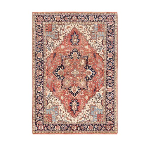 Red Antiqued Heriz Re-Creation Soft Organic Wool Hand Knotted Oriental Rug