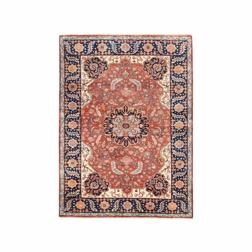 Antiqued Red Heriz Re-Creation Soft Velvety Wool Hand Knotted Oriental Rug