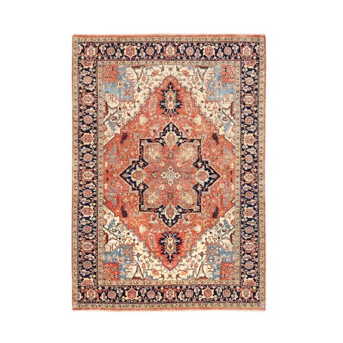 Red Antiqued Heriz Re-Creation Organic Wool Hand Knotted Oriental Rug