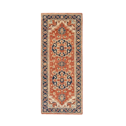 Red Antiqued Heriz Re-Creation Soft And Supple Wool Hand Knotted Oriental Runner Rug