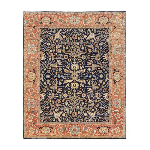 Navy Blue Antiqued Heriz Re-Creation Organic Wool Hand Knotted Oriental Rug