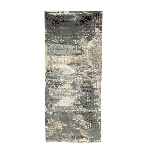 Gray Abstract Design Wool and Silk Hi-Low Pile Hand Knotted Oriental Wide Runner