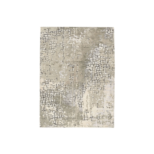 Taupe Wool and Silk Abstract with Mosaic Design Hand Knotted Mat Oriental