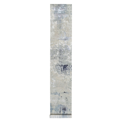 Gray Wool and Silk Modern Wide XL Runner Abstract Design Hand Knotted Oriental
