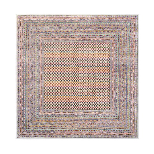 Colorful Wool And Sari Silk Sarouk Mir Inspired With Multiple Borders Hand Knotted Oriental Square