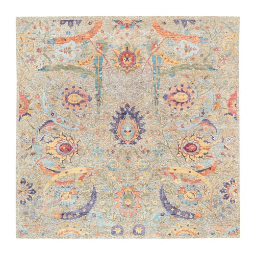 Colorful Hand Knotted Silk With Textured Wool Sickle Leaf Design Oriental Square