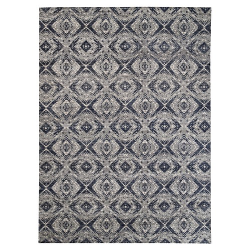 Charcoal Black Supple Collection Modern All Over Square Design Erased Pure Wool Hand Knotted Oriental Rug