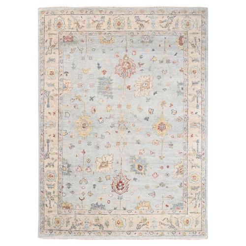 Silver Gray Natural Wool Supple Collection Oushak Design Hand Knotted Oriental Rug