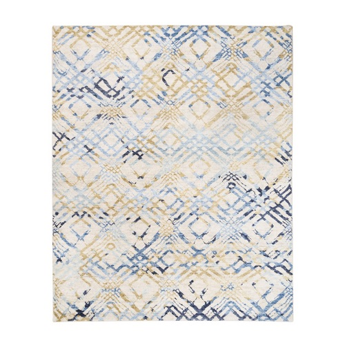 Yellow and Ivory Supple Collection Modern Oceanic Square Design Pure Wool Hand Knotted Oriental