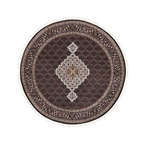 Hand Knotted Black Tabriz Mahi Fish Medallion Design Wool And Silk Oriental Round