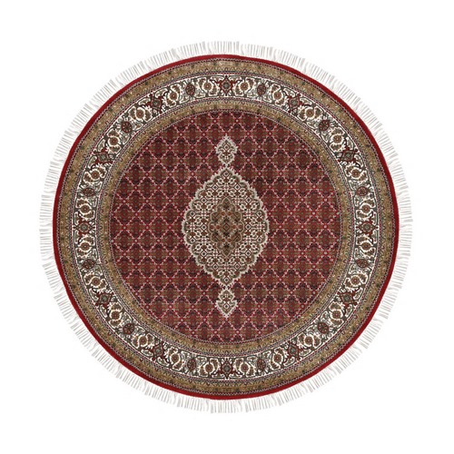 Tabriz Mahi Fish Medallion Design Wool And Silk Hand Knotted Red Oriental Round