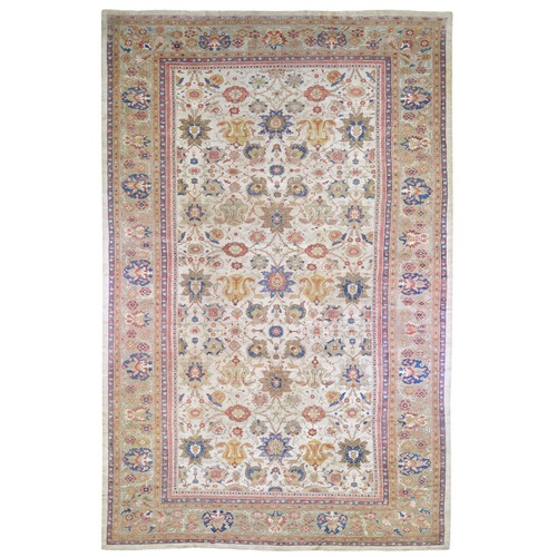 Antique Persian Sultanabad Good Condition, Ivory, Extra Long Clean Pure Wool Hand Knotted Oriental