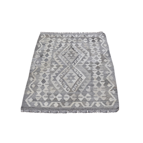 Gray Geometric Design Afghan Kilim Reversible Undyed Natural Wool Hand Woven Oriental