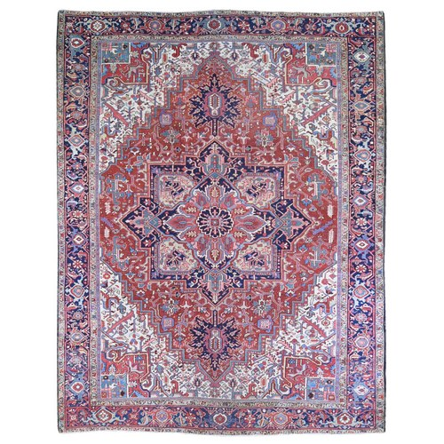 Hand Knotted Antique Persian Heriz Ivory and Blue Corner Good Condition Clean Organic Wool Oriental