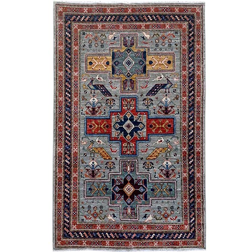 Gray Armenian Inspired Kazak Super Dense Weave Pure Wool Hand Knotted Oriental