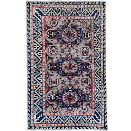 Simple Taupe Armenian Design Kazak Super Dense Weave 100% Wool Hand Knotted Oriental