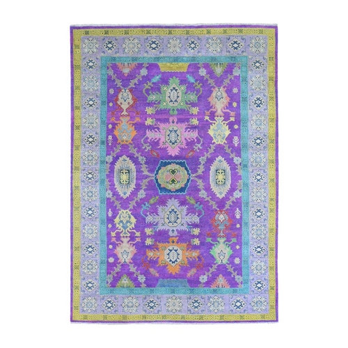 Pink and Violet Fusion Kazak Pure Wool Tribal Design Hand Knotted Oriental Rug