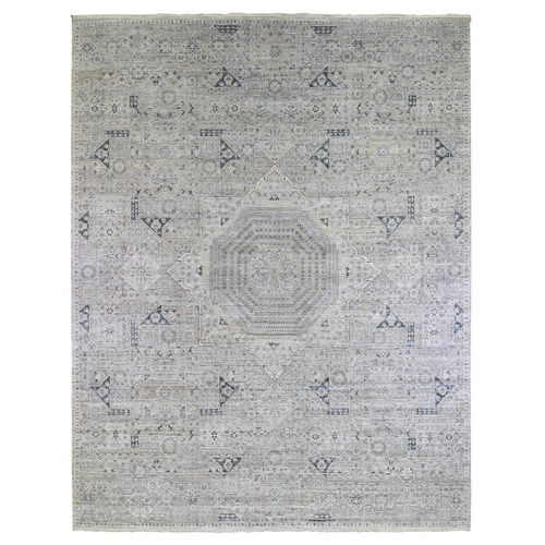 Pure Silk with Textured Wool Blue-Gray Mamluk Design Hand Knotted Oriental Rug