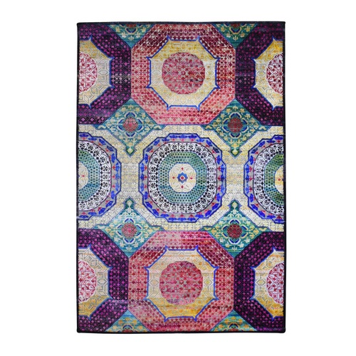 Colorful Sari Silk with Textured Wool Mamluk Design Hand Knotted Oriental Rug