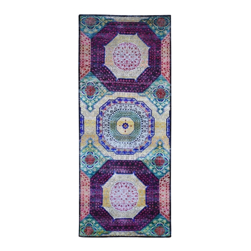 Colorful Sari Silk with Textured Wool Wide Runner Mamluk Design Hand Knotted Oriental Rug