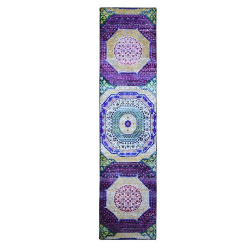 Colorful Sari Silk with Textured Wool Mamluk Design Hand Knotted Runner Oriental Rug