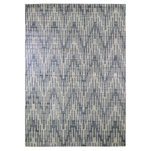 Blue Pure Silk and Textured Wool Zigzag with Graph Design Hand Knotted Oriental Rug
