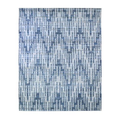 Zigzag with Graph Design Blue Pure Silk and Textured Wool Hand Knotted Oriental Rug