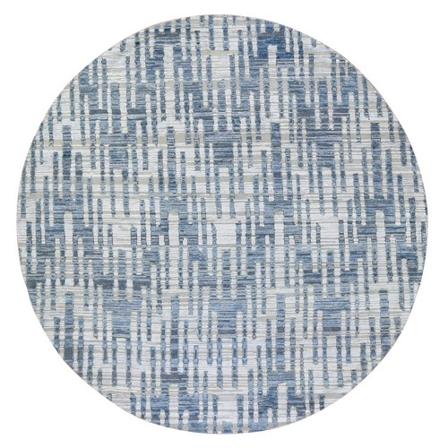 Hand Knotted Blue Pure Silk and Textured Wool Zigzag with Graph Design Round Oriental Rug