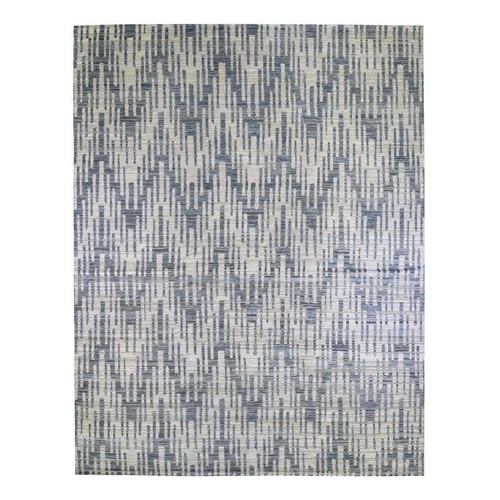 Oversized Blue Pure Silk and Textured Wool Zigzag with Graph Design Hand Knotted Oriental Rug