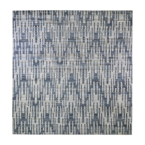 Blue Pure Silk and Textured Wool Square Zigzag with Graph Design Hand Knotted Oriental Rug