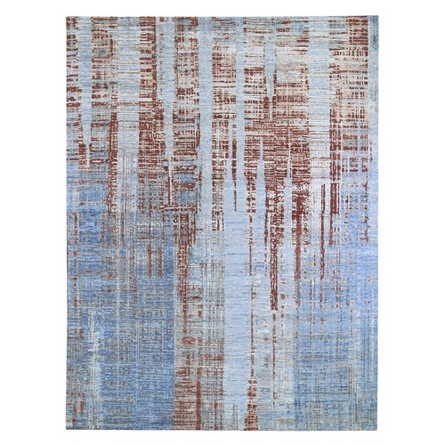 Red Hi-Low Pile Abstract Design Denser Weave Wool and Silk Hand Knotted Oriental Rug